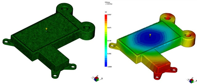 Moldflow Images showing mesh and filling output from Autodesk Moldflow Insight