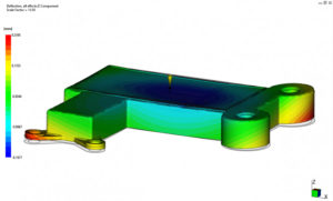Moldflow Image showing warpage deflection output from Autodesk Moldflow Insight