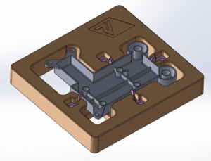 Solidworks image showing as moulded 3D model in position on metrology fixture