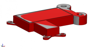 Solidworks image showing nominal model overlaid with the warpage compensated model in red